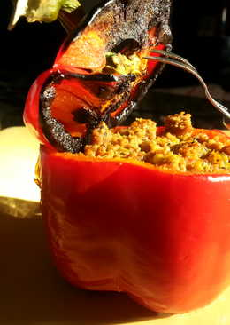Roasted Bell Pepper stuffed with Spicy Beef