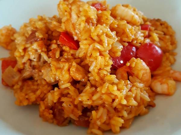 Chicken, chorizo and prawn paella