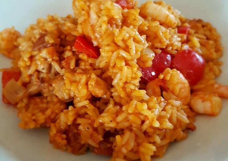Chicken, chorizo and prawn paella