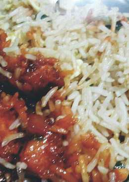 Fried rice with orange chicken