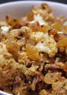 Veg:Baked Cauliflower and Golden Raisins with Almond-Yogurt Sauce