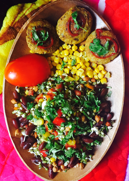 Vegan plater Sprouts salad with Rajma potato cutlet