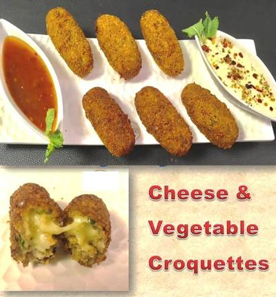 Cheesy Vegetable Croquettes With LeftOver Roti