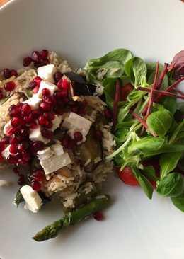 Asparagus, aubergine, feta and pomegranate rice 🥗
