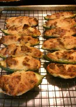 Three cheese stuffed jalapeno peppers