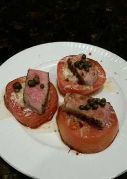 Brad's cheesey tomatoes with seared ahi tuna and capers
