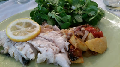 Fish with roasted vegetables