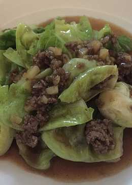 Quick and simple Baby Kailan with ground beef