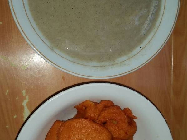 Pap made with millet and Akara(beans cake)