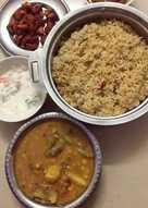 Veg&non-veg Combo(Ghee coconut Rice,Sambar,Chicken Fry,Raita)
