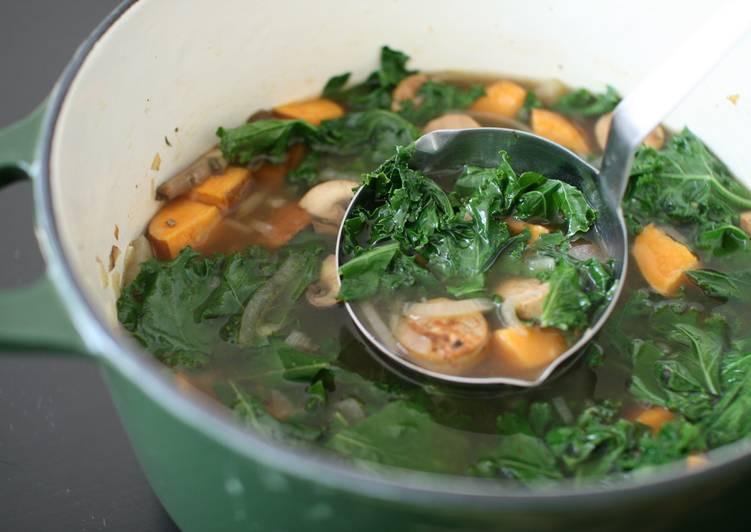 Kale and Roasted Sweet Potato Soup Recipe by mona - Cookpad