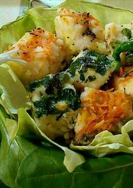 Double decker spinach carrot dhokla