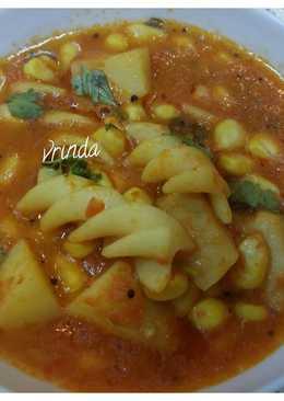 Aloo Corn Pasta in red gravy