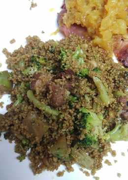 Couscous roasted pine nuts and Ham and Broccoli