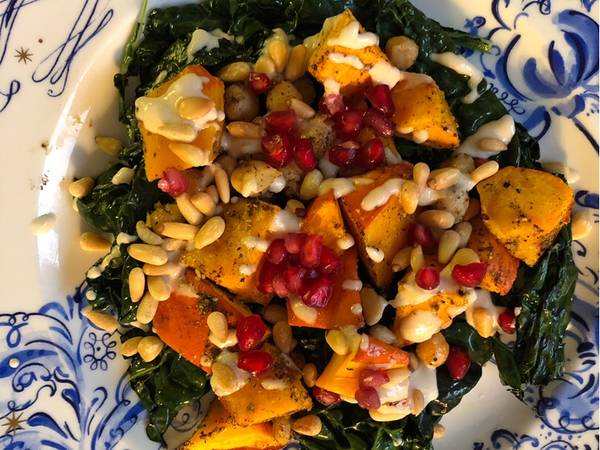 Roasted squash and chickpeas with tahini sauce