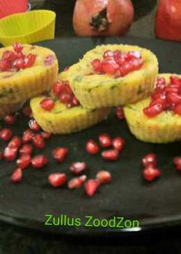 Pomegranate idli from leftover rice and wheat flour