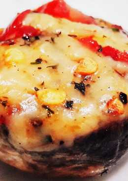 Cheese Stuffed Chilli Mushrooms