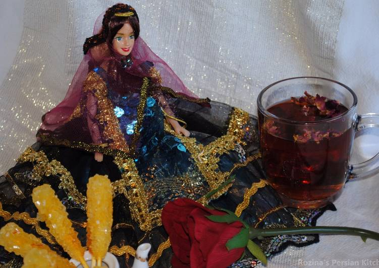 Persian black tea with dried rose petals Recipe by Rozina