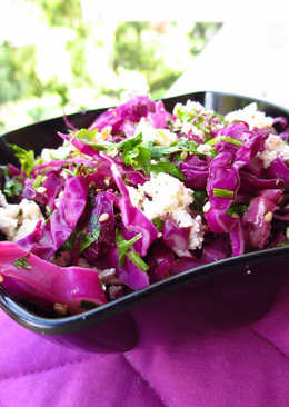 Red Cabbage with Crumbled Cottage Cheese and Toasted Sesame