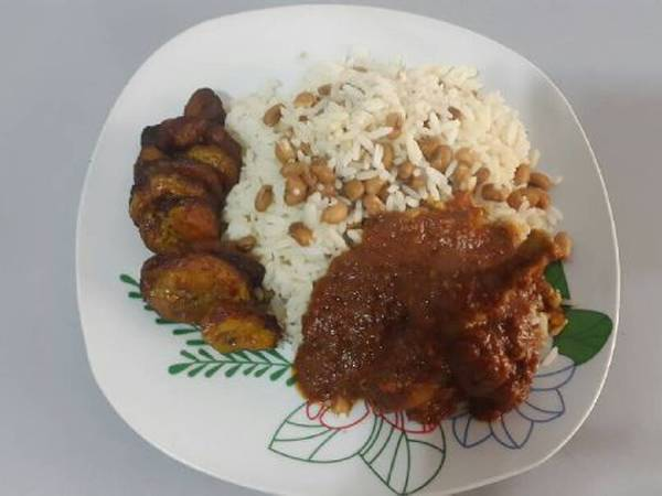 Rice and beans with fried plantain