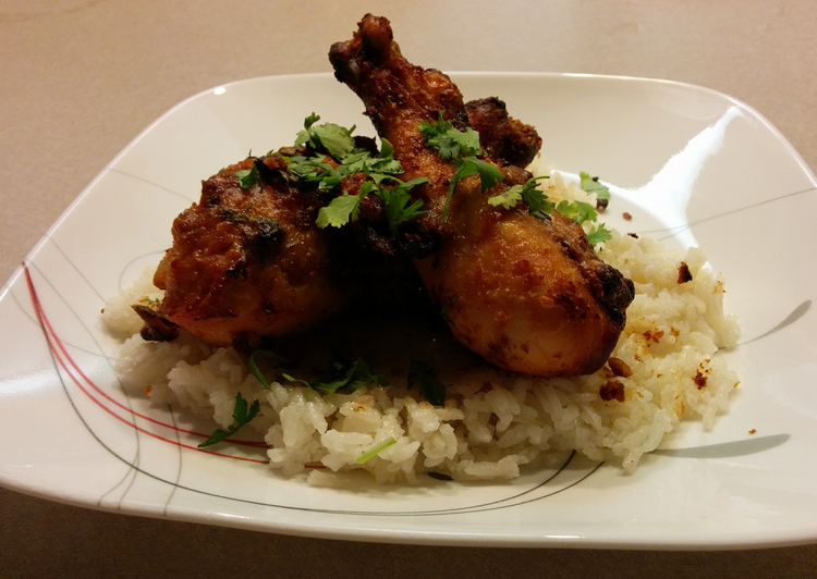 Barbecued Thai Peanut Chicken with Coconut Rice