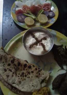 Stuff karela with meethi ki stuff roti and pudina curd (from skimmed milk)