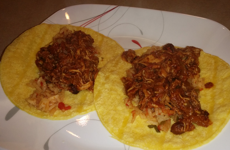 Rice and Chicken Mole Tacos