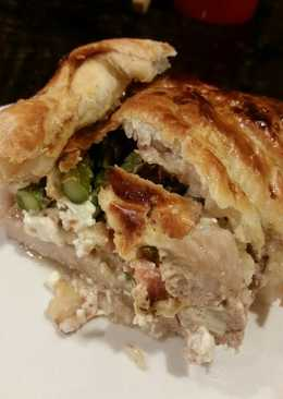 Brad's bacon asparagus and cream cheese stuffed pork wellington