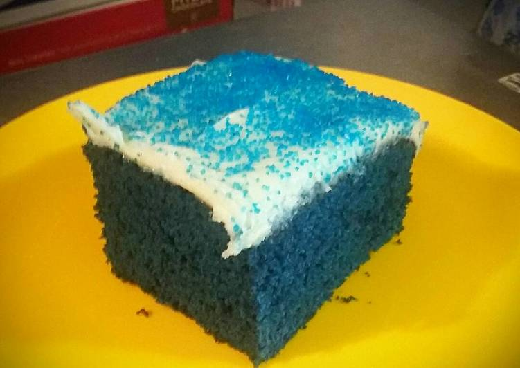 Blue Velvet Cake with Cream Cheese Frosting Recipe by StephieCanCook