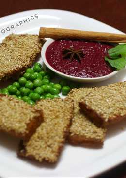 Sesame Chicken Toast with Beetroot-star anise dip
