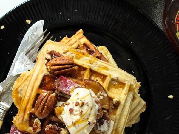 Sweet Potato and Pecan nut Waffles with Maple syrup