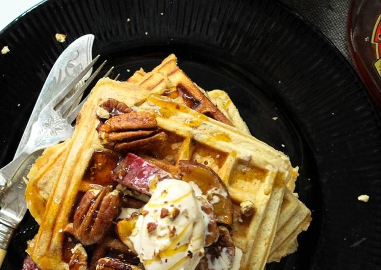 Sweet Potato and Pecan nut Waffles with Maple syrup Recipe ...