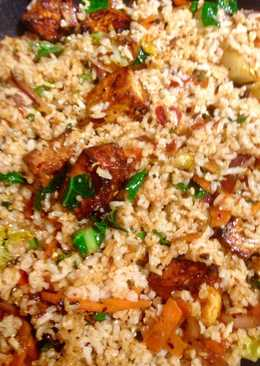 Fried vegetable brown basmati rice with marinated tofu