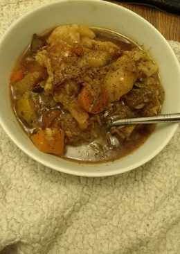 Mutton stew with homemade dumplings