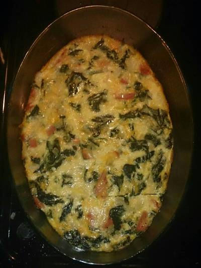 Crust-less Spinach and Ham Quiche