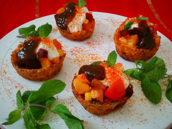 Baked Pumpkin Katori Chaat with Sweet potato and Beetroot