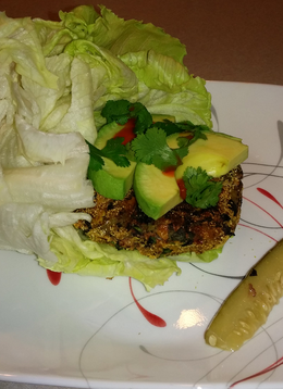 "Chipotle Sweet Potato ""Burgers"" in a Lettuce Wrap"