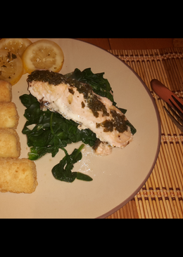 Simple citrus salmon on a bed of spinach w/ potatoes