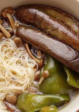 Quick & easy hot somen noodle with summer veggies 🍳🍆
