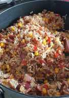 Simple bacon and mushroom rice