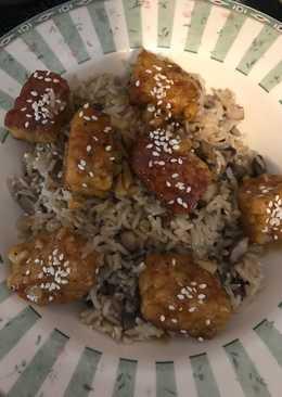 Vegan Orange Sesame Tempeh with Mushroom Brown Basmati Rice