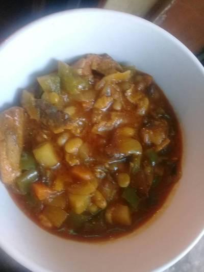 Tin fish with tin vegetables