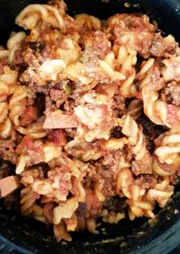 My SlowCooked Hot Peppered Beef mince & Smoked Sausage Pasta. 😀