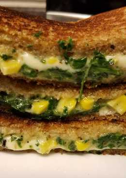 Spinach Corn Cheese Brown Bread Toast