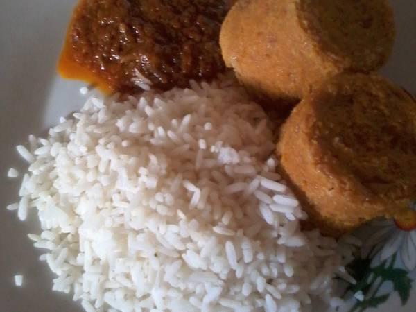 White Rice, Moi moi and Carrot Stew