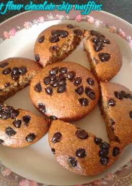 Wheat flour chocolate chip muffins