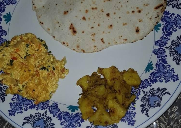 Sama chawal roti with veggie dish