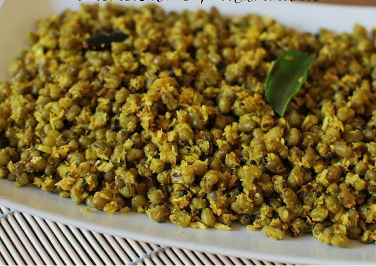 Cherupayar Thoran (Green gram) with coconut without oil Recipe by