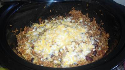 Mexican Casserole with ground beef in slow cooker