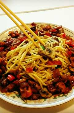 resep masakan italian spaghetti with pan fried mushrooms